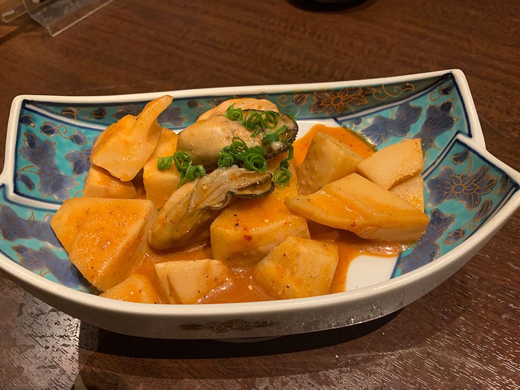 牡蠣と干筍にんにく炒め