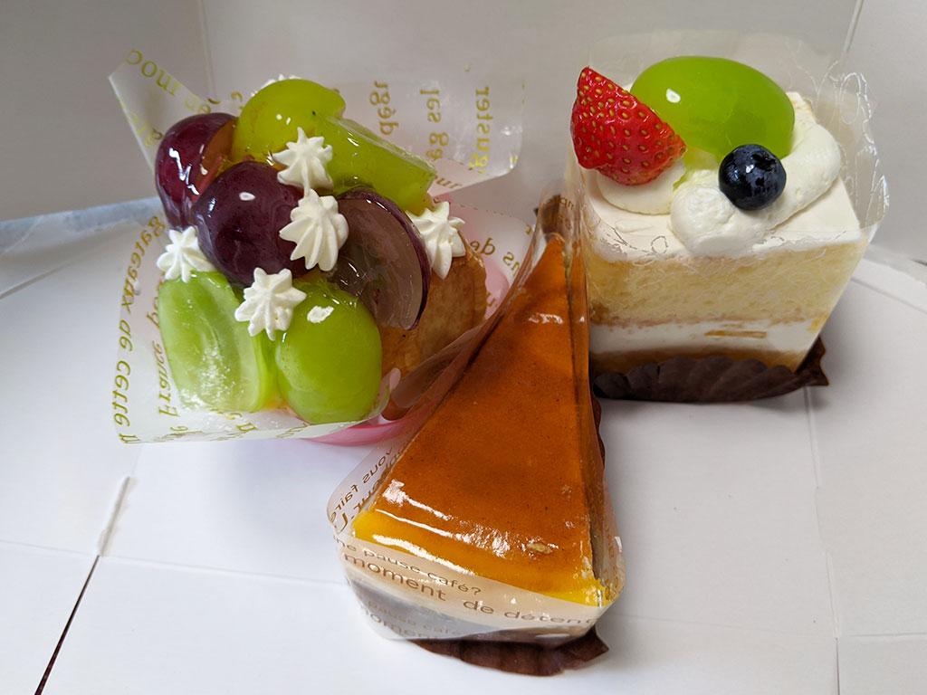 シャインマスカットを使ったショートケーキ・タルト、チーズケーキ